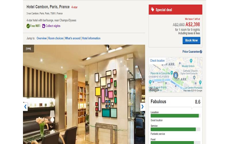 نمونه رزرو هتل از Hotels.com
