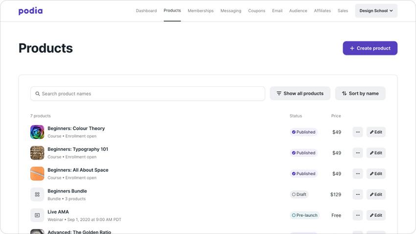 کسب درآمد ارزی از سایت Podia محصولات