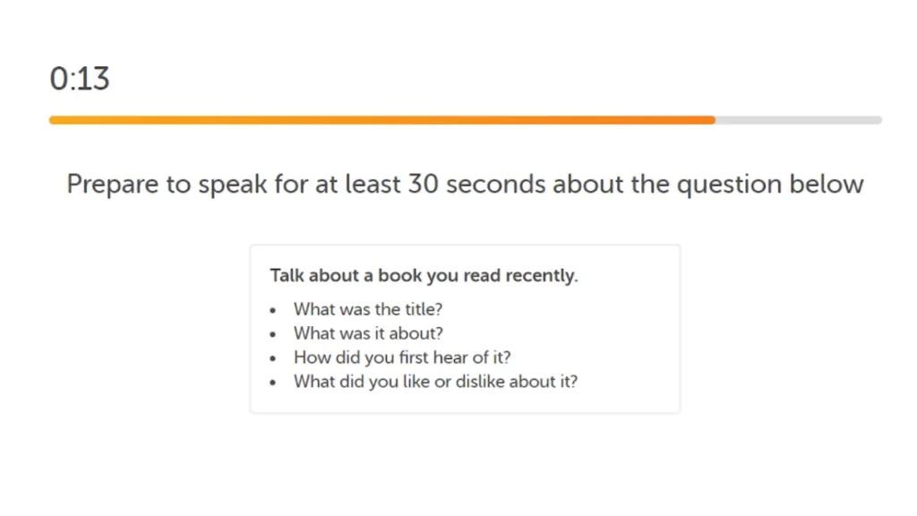 سوال آماده شدن برای امتحان دولینگو اسپیکینگ